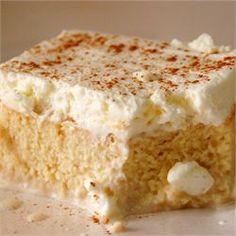 Tres Leches (Milk Cake) - Allrecipes.com made yesterday, it was delicious.   Tasted like a vanilla tiramisu