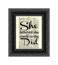 She Believed She Could So She Did Quote por ReImaginationPrints