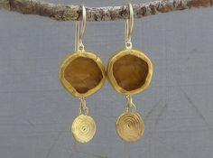 Rough Citrine & Fine Gold Earrings  24k Gold Citrine by Omiya