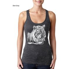 White Tiger Tiger Tiger Tank Top Animal Tank Top Burnout Racerback... ($15) ❤ liked on Polyvore featuring tops, black, tanks, women's clothing, racerback tank, burn out tank, racer back tank, racer back tank top and racer back tops