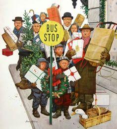 Steven Dohanos Bus stop at Christmas 1952 Christmas Cover, Noel Christmas, Vintage Christmas Cards, Xmas, Retro Christmas, Christmas Canvas, Black Christmas, Christmas Scenes, Christmas Paintings