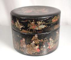 Japanese Black Lacquer Papier Mache Round Box