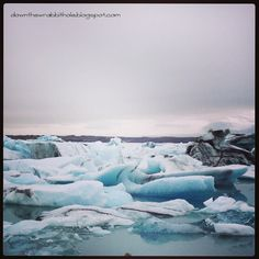 """Explore the beautiful Iceberg Lagoon in Jokulsarlon, Iceland.  Find out more at """"Down the Wrabbit Hole - The Travel Bucket List"""". Click the image for the blog post."""