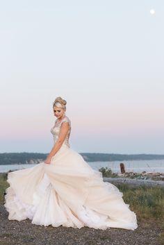 Ebey's Landing Beach Wedding. Blush & Sand. Whidbey Island Wedding. YSA Makino Haute Couture gown from MeaMarie Bridal. Elizabeth Marie Makeup. Heidi Hull Designs. Blush Wedding Dress.