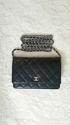 53bfe2ca9d8d Chanel Black Lambskin Flap Wallet On Chain WOC Silver Hardware