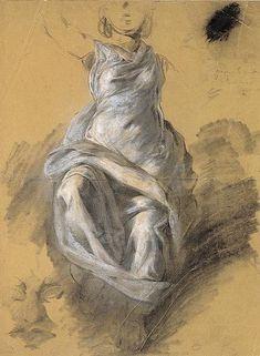 Draperie féminine  Eugène DELACROIX (Saint-Maurice, 1798 - Paris, 1863) Draperie féminine vers 1820  Fusain et craie blanche sur papier beige 56 x 42 cm Legs de M. Léonce Mesnard en 1890