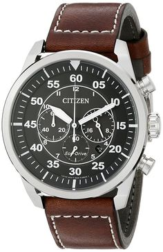 Citizen Men's CA4210-24E Stainless Steel Watch with Brown Band