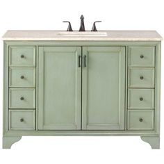 Home Decorators Collection Hazelton 49 in. Vanity in Antique Green with Marble Vanity Top in Beige with White Basin  Basement Bath