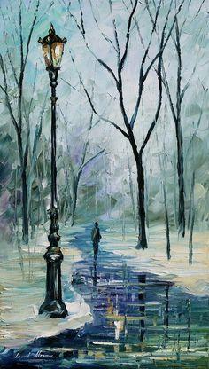 Autumn fog-oil painting on canvas by Leonid Afremov