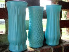 midcentury glass vases in a pretty bluuuuue