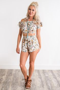afed0ffacfd6 Hazel Floral Two Piece Set (Ivory) Floral Two Piece, Crop Top And Shorts
