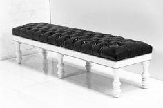 Bel-Air Bench in Faux Black Croc Patent Leather   ModShop