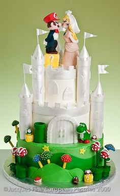 Super Mario Wedding Cake-If Brady could find a girl who would agree to this wedding cake, his life would be complete. LOL!