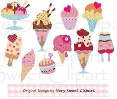 Conjunto de 10 helado clipart descarga por VerySweetClipart en Etsy