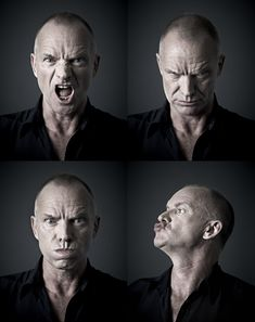 """When you reach a certain age, you realize that life is finite. You can be depressed by that, or you can say, 'I'm going to appreciate every minute to its maximum potential.'"" - Sting (photos by Andy Gotts) Human Reference, Photo Reference, Andy Gotts, Photo Humour, Emotion Faces, Face Anatomy, Face Study, John Malkovich, Drawing Expressions"