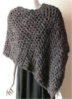 Asymmetric Poof Crochet Poncho from Crystal Palace Yarns
