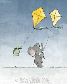 Elephant and Turtle Flying Kites Nursery by LowerWoodlandStudio