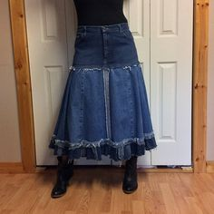 Upcycled Denim Maxi Skirt/Recycled Blue Jean Skirt/Midi