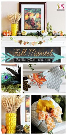 Gorgeous fall mantel decor at Positively Splendid