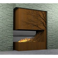 Corton Steel Surround with Branch Insert - Colombo Construction Corp Floating Fire Box - Outdoor Sculptures - Modenus Catalog