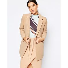 Missguided Tailored Blazer ($51) ❤ liked on Polyvore featuring outerwear, jackets, blazers, tan, tall jackets, beige blazer, beige jacket, tan jacket and collar jacket