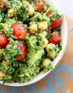 Lemon Quinoa Cilantro Chickpea Salad - A nice, refreshing, and guilt-free cold salad for the summer months. Makes a lot more than I expected!  I reserved about 1/4 of the lemon juice when making the dressing & used it to toss the avocado in before adding it, to keep it from turning brown.