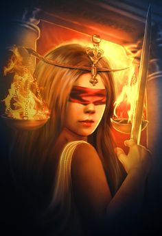 "Flames of Themis by Lilia Osipova (Italy) : Themis is a Greek Titanes/Titaness representing divine law and order. She is considered to be ""good counsel."" As one of the Oracles of Delphi she was a prophet. In traditional representations she did not wear the blindfold."