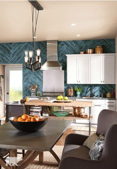 Remodeling your kitchen and want a farmhouse look? Use a washed-out technique on the wood backsplash and the wood crates you hold your fruits and bread in. Brush BEHR paint in Aruba Blue on your paneling to achieve a rustic feel. Wood Backsplash, Herringbone Backsplash, Backsplash Ideas, Modern Kitchen Design, Interior Design Kitchen, Kitchen Colors, Kitchen Decor, Kitchen Ideas, Luxury Interior