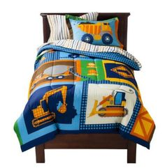 Construction, Bulldozers, Dump Trucks, Boys, 5pc Twin Comforter Bed In A Bag New