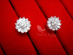 AD69, Daphne Crystal Flower Pendant Earrings for Cute Anniversary Gifts - EARRINGS
