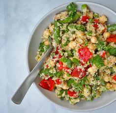 Roasted Asparagus & Red Pepper Quinoa Salad | A Nutritionist Eats