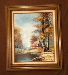 """VTG Framed, Bob Ross Style Oil Painting! Frame: 26.75""""x22.75"""", Signed N. Meyer Painting Frames, Painting On Wood, Sign N, Vintage Landscape, White Clouds, Bob Ross, Painted Signs, See Photo, Art Oil"""