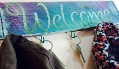 Recycled pallet wood welcome sign 5 teal hooks by ThePovertyBarn