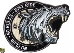No Club No Rules Just Ride Small Wolf Biker Patch