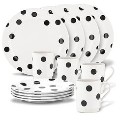 kate spade new york® all in good taste Deco Dot Dinnerware Set is part of Home Accessories Design Kate Spade Add a fun touch to your table setting with these deco dot dinnerware pieces Wit - Casual Dinnerware, White Dinnerware, Dinnerware Sets, Tabletop, Kate Spade New York, Vase Deco, Elegant Dinner Party, Stoneware Dinnerware, Dinner Plate Sets