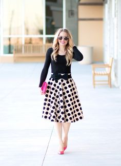 polka dot ---- Polka Dot Velvet A-Line Midi Skirt c/o Chicwish // Ann Taylor Scoop Neck Long Sleeve Tee // Bow Belt (under $9) // Steve Madden Proto Pumps (sold out in this color) but love these similar ones and these // Kate Spade Bow Clutch (old) but love this hot pink tassel clutch // Wonderland Stateline Sunglasses // Benique Pearl Ring // Make Up For Ever Artist Plexi Gloss
