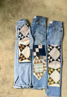 The B SIDES x BODE Quilt Patchwork Jean is patch-worked denim sourced from antique American quilts. The authentic vintage Levi's are re worked in New York by B Sides. Patchwork Jeans, Patchwork Dress, Diy Clothing, Sewing Clothes, Mode Outfits, Jean Outfits, Ropa Upcycling, Looks Style, My Style