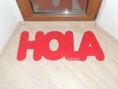 HOLA floor mat. Hello in Spanish. Welcome mat. Home decor. Customizable