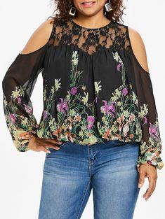 c46bf3646ee Plus Size Lace Trim Print Sheer Blouse - BLACK 5X Black Sheer Blouse
