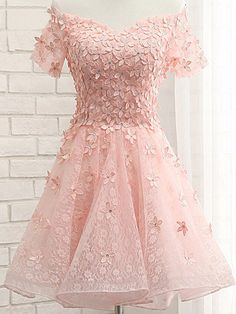 Pink Lace Homecoming Dresses, Off Shoulder Homecoming Dresses, Appliques Homecoming Dresses, Homecoming Dresses, Organza Homecoming Dresses, Short Prom Dresses, Cheap Homecoming Dresses, Juniors Homecoming Dresses,PD0610