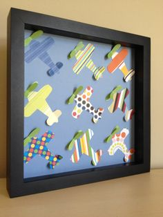 Colorful Paper Airplane, 3d paper art, perfect for your boy's room