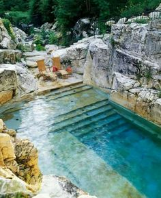 A pool built into the rocks.