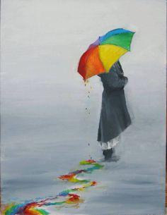 Rainbow drip drip drip - (umbrella in the rain, illustration, art) Rainbow Art, Rainbow Colors, Rainbow Things, Umbrella Art, Art Et Illustration, Color Splash, Painting & Drawing, Amazing Art, Awesome