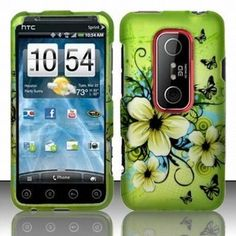 HTC EVO 3D Accessory - Blossoming Spring Flower  Butterflies Protective Hard Case Cover Design for Sprint 4G