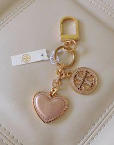 New Tory Burch Leather  Logo & Heart Key Fob/Chain Rose/Gold w/ Dust Bag #ToryBurch