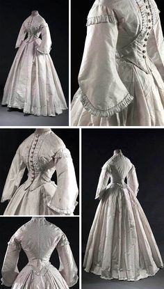 Day dress ca. 1861-62. Two pieces. Bodice has round neckline, pagoda sleeves, and front closure with 12 buttons. Skirt comprises 8 panels with small ruffle at hem. Musée Galliera
