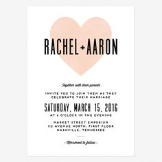 Heart in Hand Wedding Invitations www.lovevsdesign.com