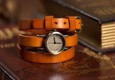 Orange women's leather wrapped watches, bracelet, OSX1003O - $12.50 | odonatum - Accessories on ArtFire