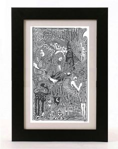 Led Zeppelin Robert Plant Jimmy Page Pen &  Ink by Posterography, $39.95