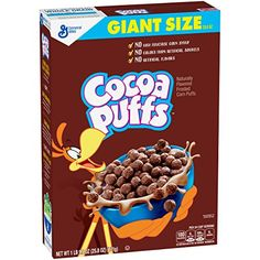 Cocoa Puffs Chocolate Cereal oz Box Whole Grain First Ingredient The Ultimate Chocolatey Experience! No High Fructose Corn Syrup No Colors from Artificial Sources No Artificial Flavors Chocolate Candy Brands, Chocolate Cereal, General Mills, Churros, Corn Puffs Cereal, Kids Cereal, Cereal Boxes, Types Of Cereal, Whole Grain Foods